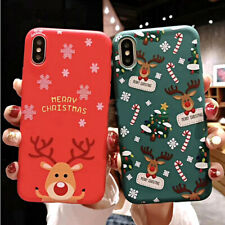 COVER per Iphone 11 /Pro Max XS XR X 8 7 6 5 Plus Natale Babbo RENNA Santa Claus