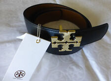 "Tory Burch Robinson Reversible Black & Tigers Eye Leather Belt 1.5"" Size S NEW"
