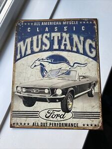 Classic Ford Mustang Metal Sign 40cm X 32cm