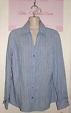 WORTHINGTON Stretch ~ Sky Blue Striped Stretchy Shirt Sz 16 * VERY GOOD COND.