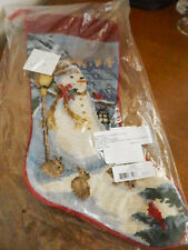 Sferra Handmade Needlepoint SNOWMAN STOCKING Christmas - NEW!