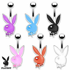 """Epoxy Colored Playboy Bunny Belly Button Navel Ring 14g 3/8"""""""