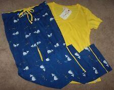 NWT Munki Munki Blue/Yellow/White WHALES Pajamas/Lounge Pants/Top Set M FISH