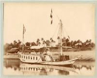 Egypte, En dahabieh, le Nil se dévoile vintage albumen print.  Tirage albuminé