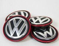 Volkswagen Golf Mk7 Gti R GTD Rouge Chrome Roue Central Bouchon 4x Set