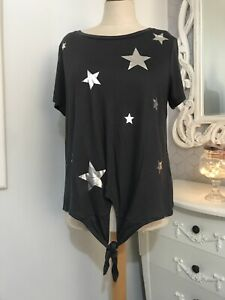 OASIS Grey Tie Front Tshirt With Silver Stars MEDIUM - new with tags