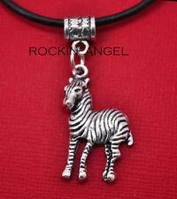 Argento anticato PLT Collana con pendente zebra Uomo Donna Regalo Fauna Selvatica Animale Amante