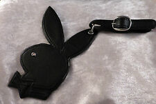 Playboy Set of 2 Large Black Bunny Luggage Tags (RHD Plate & Crystal) Gift Boxed