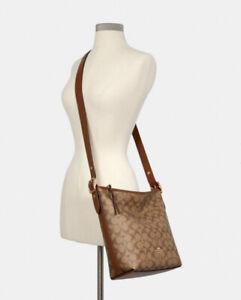 NWT COACH C2819 Val Duffle In Signature Canvas Leather Khaki Redwood Retail $398