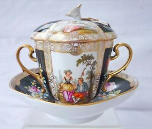 Dresden Augustus Rex  porcelain chocolate cup & cover with matching saucer.