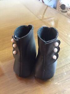 "Dolls Vintage Boots Antique Style Black Leather Look 2"" 5cm Long VGC"