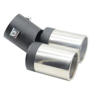 Car Exhaust Muffler Tip Dual Pipe Trim Modified Rear Tail Throat Liner Universal