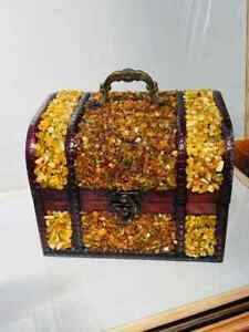 wooden chest with amber