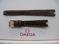 NOS Omega 13mm with 4mm cut-out Brown Glossy Crocodile Watch Strap + G/P Buckle