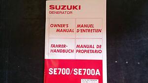 Suzuki SE700 SE700A Generator SE 700 A Owners Manual 1983 1984
