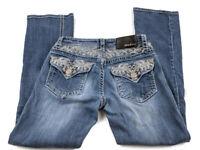 Grace in LA Womens Jeans 26 Bootcut Rhinestone Embellished Flap Pockets Cowgirl