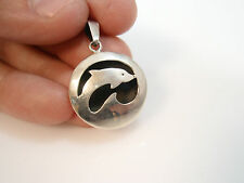 vintage taxco mexico Dolphin Shadow Box pendant sterling silver 925