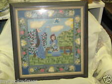 "Vintage Fine Hand Made Stitched Needlepoint 14""x14"""