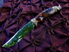 AWESOME STEEL CUSTOM HANDMADE KNIFE MAPLE CUP *HUNTING RHINO* + LEATHER SHEATH