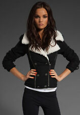 NEW Juicy Couture Vest Black Moto Sherpa Creme Faux Shearling Sm $248 retail