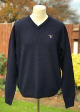 GANT Men's V-Necked Jumper Navy Blue Size XL (Extra Large) 100% Lambswool