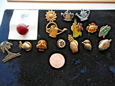 Fruit Palm Tree Watering Cans Gardening Tie Tacks Lot 15 Hat/Lapel Pins Flowers