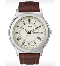 New Timex Men's Brown Leather Indiglo Beige Dial Watch T2E581
