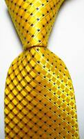 New Classic Checks Gold Yellow Blue White JACQUARD WOVEN Silk Men's Tie Necktie