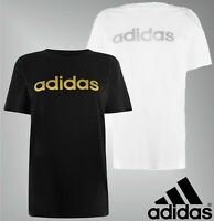 Ladies Adidas Short Sleeves Crew Neck Cotton Foil QT T Shirt Sizes from 8 to 18