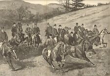 Horses, The Goodwood Hunt, Ladies Ride Sidesaddle, Dbl Pg, 1892 Antique Print