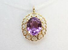 Beautiful 9ct solid yellow gold oval Amethyst pendant with pretty Heart setting