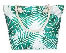 Large Canvas Beach Bag Glitter Leaves Palm Rope Handles Holiday Zip Clearance