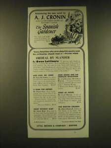 1950 Little, Brown & Company Ad - Announcing the new novel by A.J. Cronin
