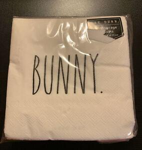 "Rae Dunn ""BUNNY."" Easter 40 Beverage Paper Napkins 10"" x 10"""