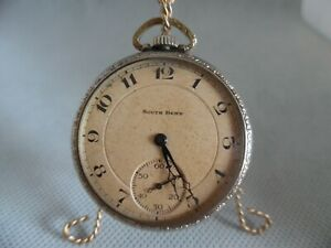 Antique South Bend Studebaker Pocket Watch 1928,21 jewel, size 12s