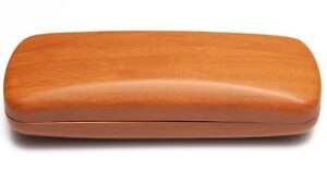 NEW Light Brown Wood Look Eyeglasses Glasses Hard Case w/ Cleaning Cloth C8