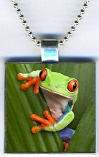 """New listing Tree Frog Amphibian Color Jewelry Square Pendant Charm Necklace 24"""" Chain New"""