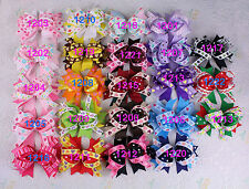 "Wholesale 23pc 4"" Handmade Hair Bows Grosgrain Ribbon Baby Girl Hairbows 1200-K"