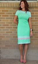 Vintage~1960's Wiggle Dress~Green/Pink~S **PERFECT CONDITION** Figure flattering