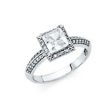 Real 14k White Gold Halo Princess Cut Solitaire Cz Engagement Wedding Ring Band