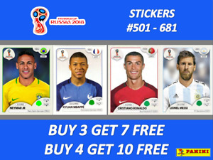 Panini WORLD CUP 2018 RUSSIA STICKERS #501-681 ☆☆ BUY 4 GET 10 FREE!! ☆☆