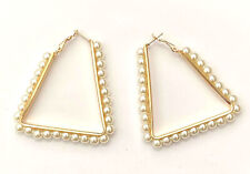 Ladies Gold Coloured Pearl Earrings Triangle Drop Fashion Jewellery