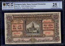 New listing Portuguese India 20 Rupias 1938 Pick # 33a Pcgs 25 Very Fine.