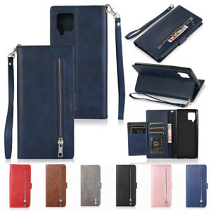 For Samsung S21 S20 S10 S9 A12 A42 A52 A51 Zipper Wallet Leather Flip Cover Case
