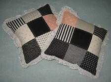 Pillows-Two Beautiful Black With White And Peach Accents Decorative Pillows-New!