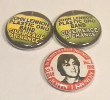 3 JOHN LENNON PLASTIC ONO BAND GIVE PEACE A CHANCE BADGES MINT THE BEATLES