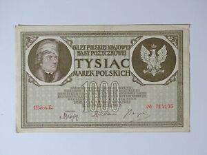 ➤ Banknote 1000 Marek Polskich Mark Tysiac 1919 Poland, III Ser.E. Nr. 714105 ➤