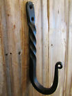 Black Antique Style Large Heavy Duty 6 25  Wrought Iron Colonial Twist Coat Hook