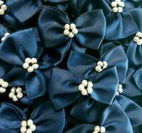 10  x NAVY BLUE 3.5cm Satin Ready Made Mini Ribbon & Pearl Craft Bows Bow Ties