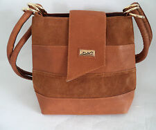 FINI BROWN LEATHER AND SUEDE SHOULDER BAG HANDBAG DOUBLE STRAPS